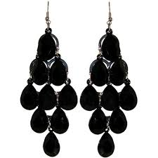 black chandelier earrings 1 3 4 x 3 1 2 chandelier earrings in black with silver finish