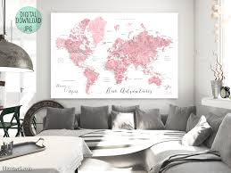 Printable World Map Personalized Pink Watercolor Printable World Map With Cities