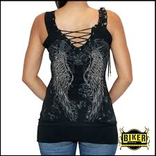 womens motorcycle apparel corset silver stone fashion tank top in black biker clothing