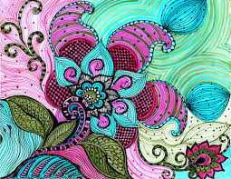 flower paisley fine art print pink blue green flowers ink and