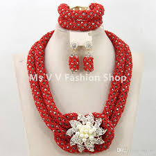 red crystal necklace set images 2018 african beads jewelry set coral red gold handmade crystal jpg