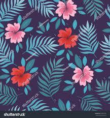 Beautiful Purple Motifs Summer Seamless Pattern Palm Leaves Tropical Stock Vector
