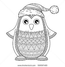 Detailed Coloring Pages Merry Christmas Jolly Penguin Detailed Coloring Stock Vector by Detailed Coloring Pages