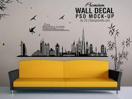 vinyl decal wall art psd mockup couch scene psd mockups