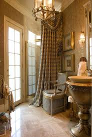 506 best tubs showers and beautiful baths images on pinterest antique brown bathroom design ideas with corner space small shower room that have checkered pattern curtains and amazing brown marble materials flooring