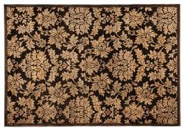 Cream Sisal Rug Area Rugs Traditional Rectangle Black Cream Brown Flower Pattern