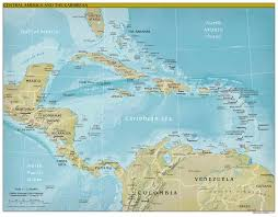 Carribbean Map Large Detailed Political And Relief Map Of Central America And The