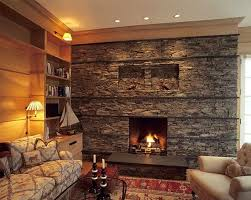 stacked stone fireplace home design