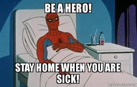 Hero Meme - be a hero stay home when you are sick spiderman sickee make a meme