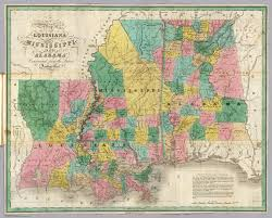 Map Louisiana by Louisiana Mississippi Alabama David Rumsey Historical Map