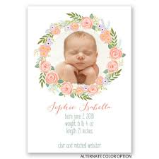 floral halo birth announcement invitations by