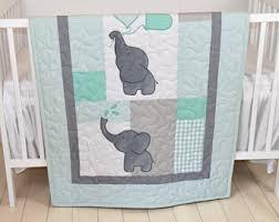 baby quilt elephant blanket pink gray crib bedding