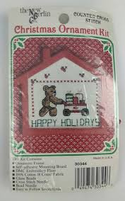 happy holidays christmas ornament kit cross stitch kit 1987