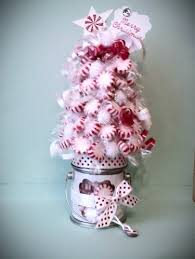 White Christmas Centerpieces - red and white christmas candy peppermint centerpiece gift tree