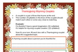 thanksgiving poem and rhyming couplet activities by there4u