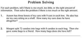 problems with extra info 3rd grade individualized math worksheets