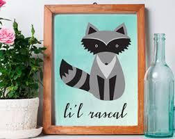 Raccoon Nursery Decor Nursery Decor Raccoon Print Woodland Nursery Animal Raccoon