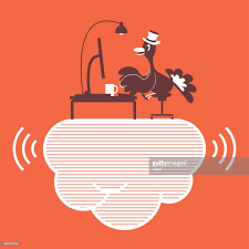 thanksgiving turkey with top hat using computer on cloud
