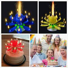 birthday candle birthday candle 3pcs mix color lotus rotating play happy