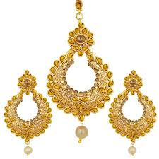 earrings image gold finish earrings with maang tikka by sukkhi jewellery combos