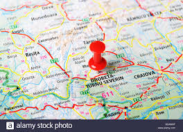 Romania Map Close Up Of Drobeta Turnu Severin Romania Map With Red Pin Stock