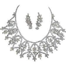 fabulous earrings fabulous clear baguette rhinestone necklace and earrings from