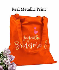 bridesmaid bags bridesmaid bags for wedding day orange tote bags real metallic