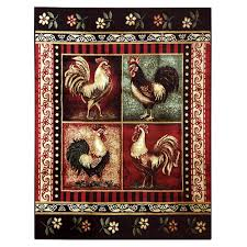 Rooster Area Rug Donnieann Lodge Design Rooster Black 5 Ft 2 In X 7 Ft 1 In