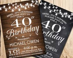 40th birthday invitation wooden 40th birthday chalkboard