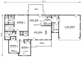 3 Bedroom Floor Plans With Garage Traditional Style House Plans 1500 Square Foot Home 1 Story 3