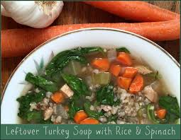 leftover turkey soup with rice spinach mashup