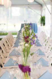 north carolina wedding reception with simple flower centerpieces