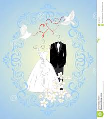 and groom card wedding invitation card with dress of and groom