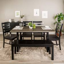 Dining Room Sets For 6 Walker Edison Furniture Company 6 Aged Grey Black