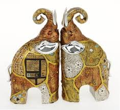 pair of small klimt patchwork elephant ornaments co uk