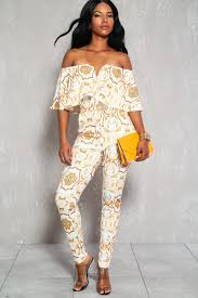 white and gold jumpsuit white gold ruffled hemline the shoulder casual jumpsuit