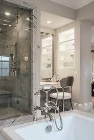 Next Bathroom Shelves Makeup Vanity Nook Next To Shower Transitional Bathroom