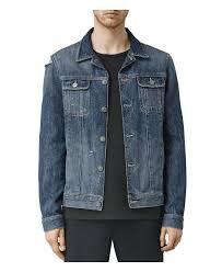 motocross leather jacket allsaints jaypee denim jacket in blue for men lyst