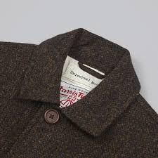 universal works chore jacket harris tweed olive