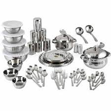 Stainless Steel Kitchen Set by Everwel Gold 72 Pc Stainless Steel Dinner Set From Everwel Home