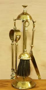 small english solid brass antique fireplace tool set