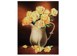pitcher of roses a bouquet of roses in a pitcher mixed media azaliart