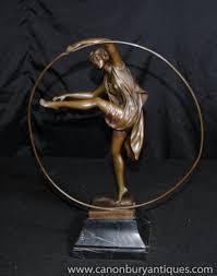 Photo Art Deco Photo Of Art Deco Bronze Statue Hoop Dancer Signed Godard