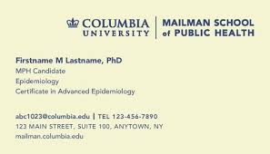 student business card student business cards columbia mailman school of
