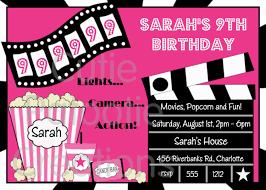 Birthday Cards Invitations Printable Movie Birthday Invitation Movie Night Party Invitations