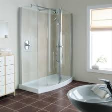 Stainless Steel Shower Stall Minimalist Bathroom With Corner Shower Stall Units And Round