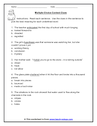 ideas of vocabulary in context worksheets about form