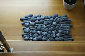 grey area rug felt rocks scandinavian rug bath bedside mat