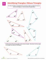 obtuse triangles identifying triangles worksheet education com