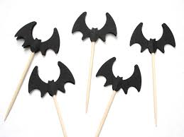 24 halloween black bat party picks toothpicks cupcake